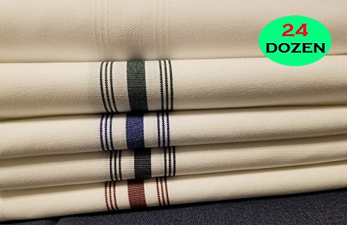 24DOZEN Wholesale Dining Rooms Napkins 18x22 Bistro Napkins White w/BURGUNDY Stripes by the Dozen- 100% Spun Polyester Striped Designed for Hospitality Table Linens Rental Business Commercial Grade L