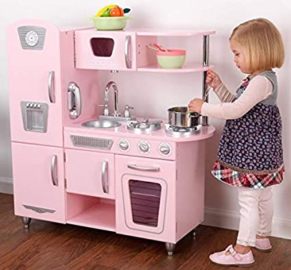 Amazon Com Kidkraft Pink Vintage Kitchen Kids Pretend Play Set And