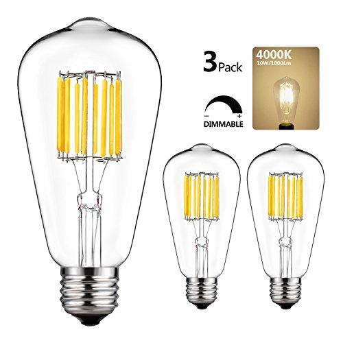 Medium Pendant Lamp (GEZEE 10W Edison Style Vintage LED Filament Light Bulb,100W Incandescent Replacement,4000K,1000LM, E26 Medium Base Lamp, ST21(ST64) Antique Shape, Dimmable(3-Pack))