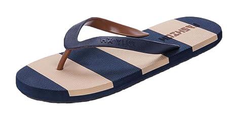 Zapatillas Casual de Verano de Moda y Casual Hombre - Rayas azul y marrón