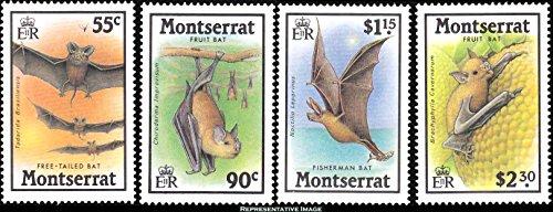 Montserrat 55c Free-Tailed Bat, 90c Fruit Bat, $1.15 Fisherman Bat and $2.30 Fruit Bat Tropical Bats. Scott 667-670. Mint never - 668 Mint
