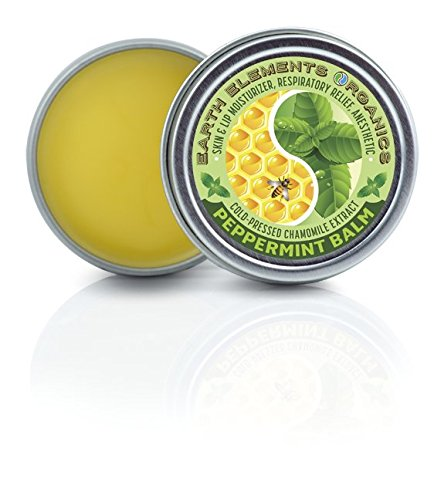 Earth Elements Organics Nausea and Respiratory Relief, Cold-Pressed Chamomile, Peppermint Essential Oil Blend Beeswax Balm, Natural Cold Fighter Anesthetic, 1 oz. MADE in the USA
