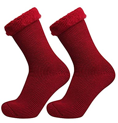 Well Knitting 2 Pairs Womens Extra Warm Comfort Thick Winter Outdoor Working Ski Hiking Brushed Thermal Socks USA Size 5-9