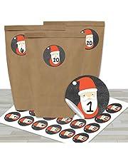 DIY Adventskalender om te vullen - met 24 bruine papieren zakjes en 24 Kerstman stickers - voor DIY en knutselen - Mini Set No 23 - Kerstmis 2021 voor kinderen.