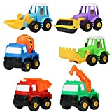 Pull Back Car Toy Set Construction Truck Team Mixer Tractor Dumpers Vehicle Models 6 Pcs for Boys Girls Kids age 3 years old (Color Vary)