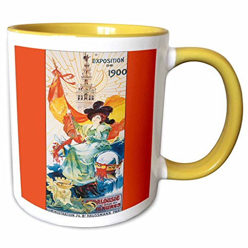 - 3dRose BLN Vintage Travel Posters and Luggage Tags - Exposition de 1900 Paris France Colorful Travel Poster Reproduction - 15oz Two-Tone Yellow Mug (mug_170514_13)