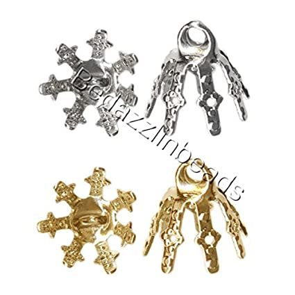 20 Bell Bead End Caps with 7mm Setting Prong Legs and Charm Loop For Hanging (Gold Plated) Bedazzlinbeads