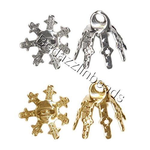 Bell End (20 Bell Bead End Caps with 7mm Setting Prong Legs and Charm Loop For Hanging (Nickel Plated))