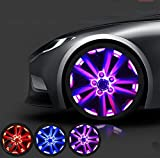 QIEI Car Auto Waterproof Solar Energy Wheel Light Lamp Decorative Flashing RGB Colorful Flash light LED Tire Warning Light for Car-4pcs , purple