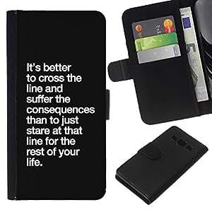 KingStore / Leather Etui en cuir / Samsung Galaxy A3 / Conséquences de Life Line Inspirational