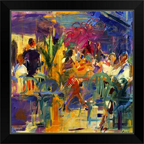 CANVAS ON DEMAND Cafe de la Place, St Paul de Vence Black Framed Art Print, 19