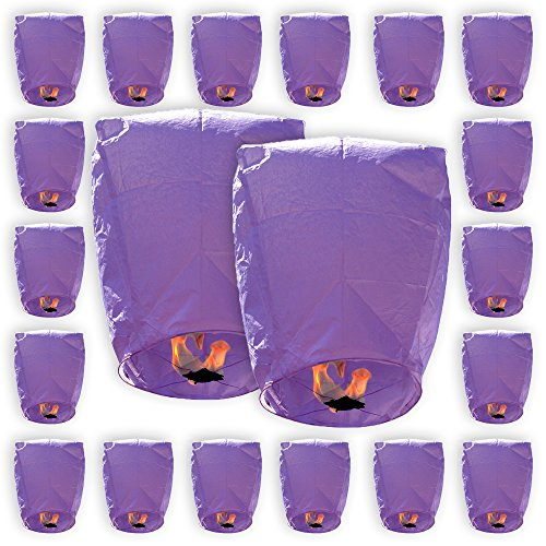 Just Artifacts ECO Wire-Free Flying Chinese Sky Lanterns (Set of 20, Eclipse, Purple) - 100% Biodegradable, Environmentally Friendly Lanterns!]()
