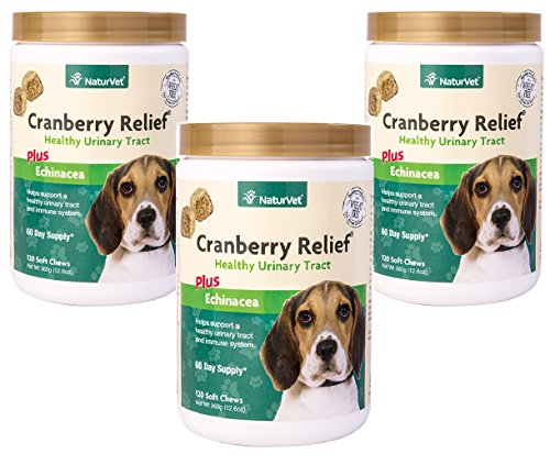 360-Count NaturVet Cranberry Relief Plus Echinacea Soft Chews for Dogs (3 Jars with 120 Chews -