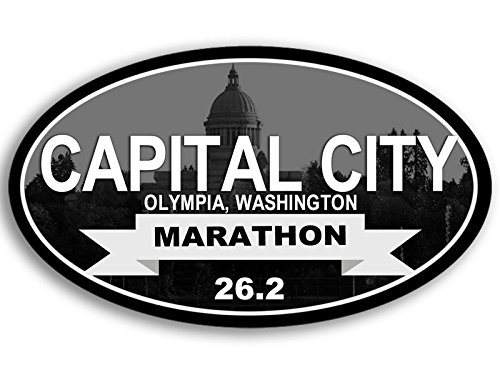 Oval Capital City MARATHON 26.2 Sticker (olympia wa run running ran - Of Capital Olympia
