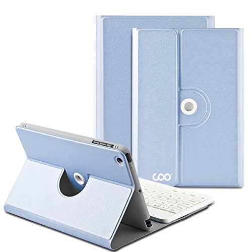 iPad Mini 4 Keyboard, COO iPad Mini 4 Case with Builtin Removable Bluetooth Keyboard for Apple iPad Mini 4 (Model A1538/A1550) with 360 Degree Rotation and Multi-Angle Stand (Sky Blue)