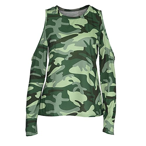 Arme paule Chemisier Grande S lgant Ourlet Sexy Tops Blouse Slim Taille Automne Camouflage QinMM Classique Femmes verte Manches Shirt Ouvertes Hauts Col O Chic Pull Manches Longues XL Travail T Off YC7wqdp