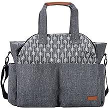 Lekebaby Large Diaper Bag Tote Satchel Messenger for Mom and Girls in Grey, Arrow Print