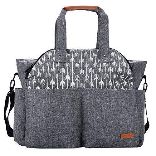 Stroller Tote Diaper Bag (Lekebaby Large Diaper Bag Tote Satchel Messenger for Mom and Girls in Grey, Arrow Print)