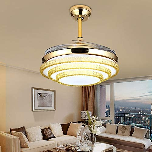 Sweety House 42 Crystal Fan Chandelier, LED Invisible Fan Blades With Remote Control Lights Adjustable Wind Speed For Dining Room Living Room Bedroom Decoration 42 inches-gold1