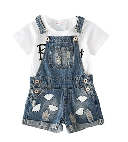 Chumhey Big&Little Girls 2Pc Big Bib Lips Embroidered Ripped Jeans Shortalls Set,Blue,10-11 Years