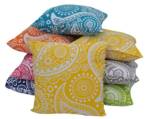 TITLE: Yellow throw pillow cover (set of 2) paisley print bed pillow 100% cotton 18