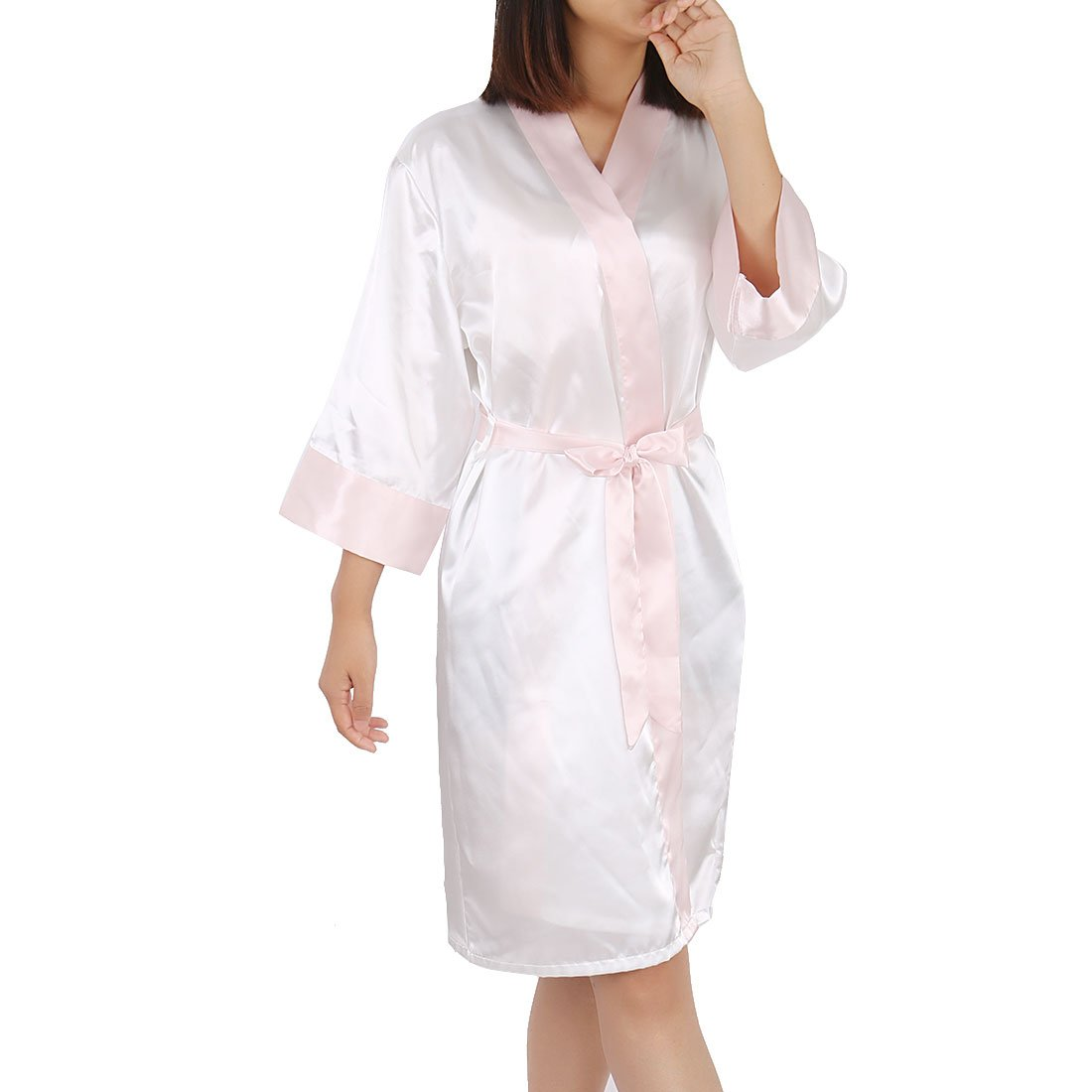 cff1a5711 Amazon.com  uxcell Womens Kimono Robe Silk Satin Bridal Lingerie Short  Sleepwear (White+Light Pink