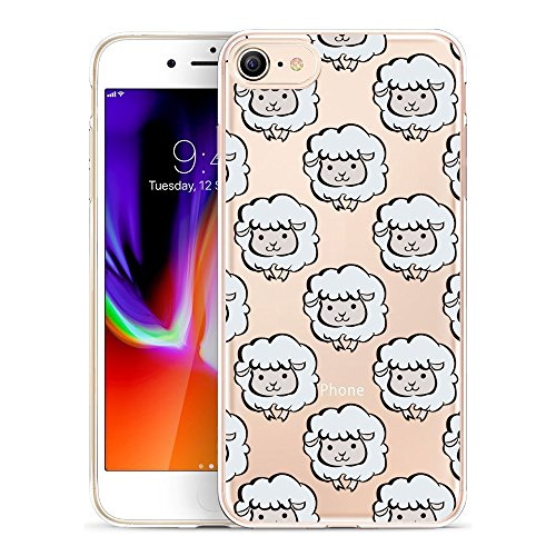 iPhone 8 Case, GoldSwift Clear Flexible Gel Case for iPhone 8 and iPhone 7 with Tempered Glass Screen Protector (Sheep)