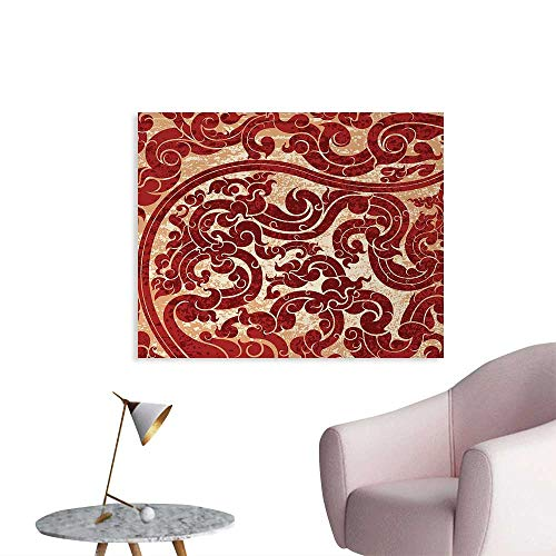 Tudouhoho Antique The Office Poster Thai Culture Vector Abstract Background Flower Pattern Wallpaper Design Artwork Print Wall Paper Ruby W32 -