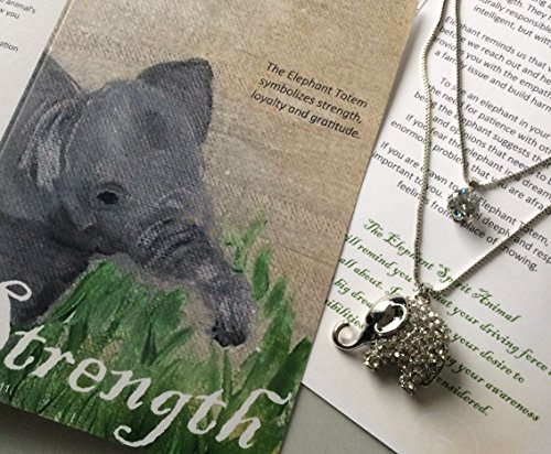 Smiling Wisdom - Elephant Totem Animal Gift Set - Spirit Guide Greeting Card - 2 Strand Elephant Necklace with Rhinestones - A Great Gift For Her - Last One!