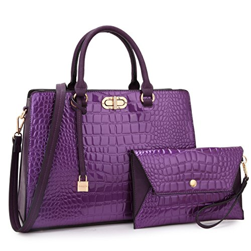 Designer Croco Leather Briefcase Computer Laptop Bag for Women, Womens Handbag Top Handle Satchel Purse Business Bag (0-Purple)