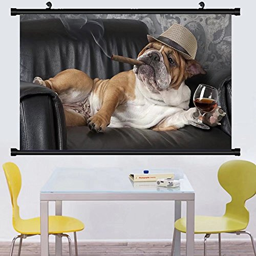 Gzhihine Wall Scroll Posterhumorous photograph of english bulldog resting in a black leather chair with a cigar and glass of ,Wall Art Paiting on Canvas 35
