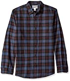 Amazon Essentials Men's Slim-Fit Long-Sleeve Plaid Flannel Shirt, Blue/Black, Large