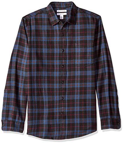(Amazon Essentials Men's Slim-Fit Long-Sleeve Plaid Flannel Shirt, Blue/Black, XX-Large)