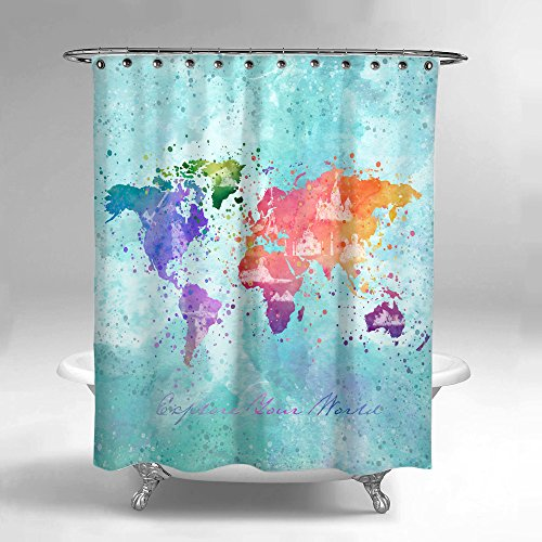 - Lume.ly - Colorful World Map Traveler Fabric Shower Curtain Set With PREMIUM Hooks Rings For Bathroom, Unique Luxurious Modern Designer Vibrant Art Decor Home Decoration (Aqua Blue) (72x72 in)