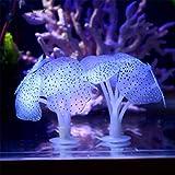 Aquarium Decorations,Silicone Aquarium Fish Tank Artificial Coral Plant Underwater Ornament Decor (blue)