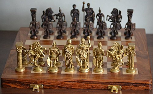 Cultural Hub ® J92-2700-0004 Collectible Greek and Roman Brass Handcrafted Chess Pieces with Foldable Wooden Chess Board for Chess Fans and Upcoming Grandmasters