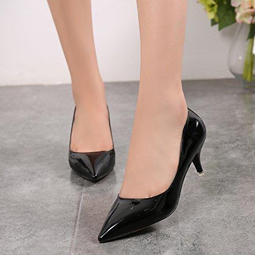 fereshte Womens Classic Simple Stiletto Mid High Low Heels Pumps 5cm-black 67iZP1