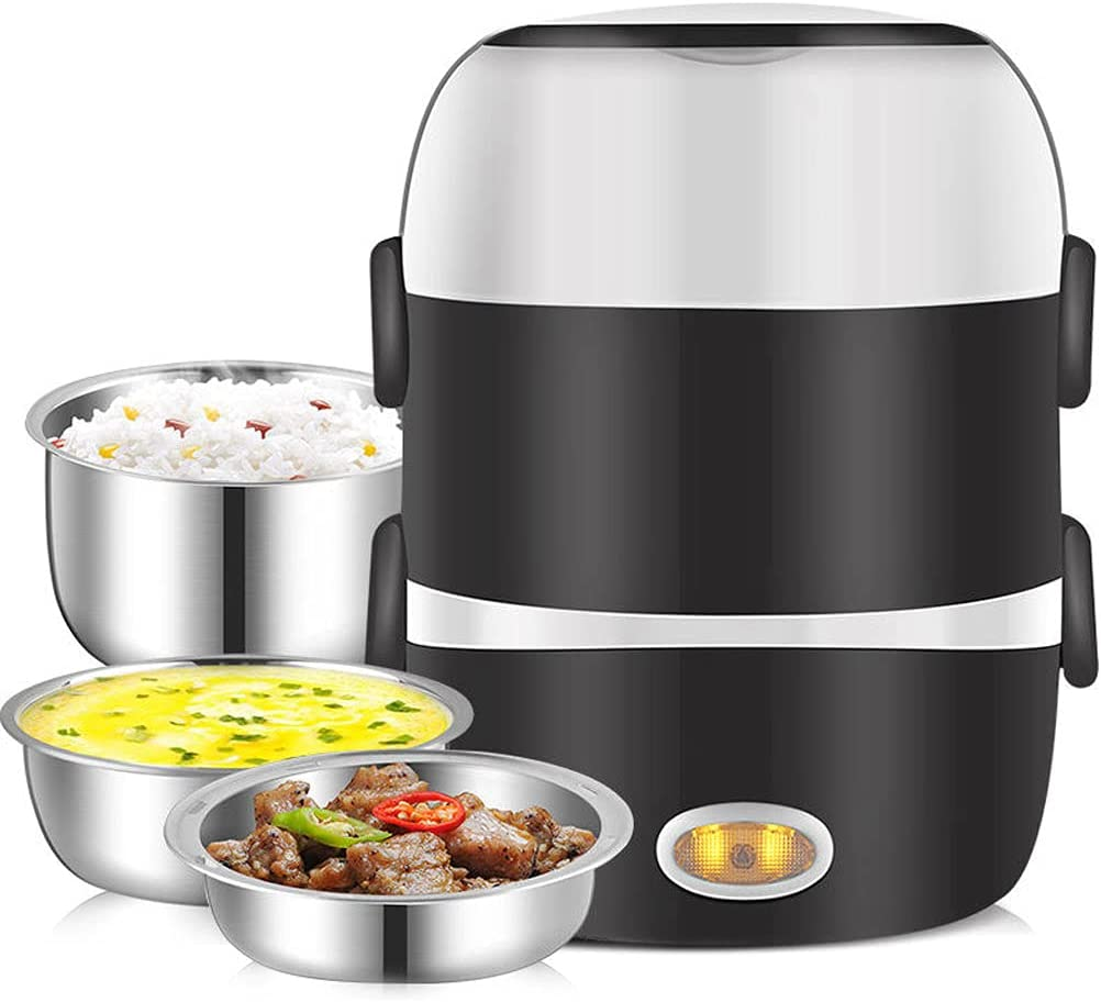 Electric Lunch Box, 3 Layers 2L Portable Electric Heating Bento Lunch Box Food Storage Warmer Container Rice Cooker,110V 200W, with Stainless Steel Bowls and Plate, Egg Steaming,Cup, Home and Office
