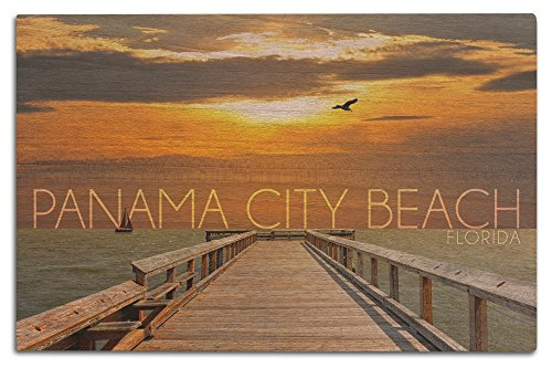 Panama City Beach, Florida - Pier at Sunset (12x18 Wood Wall Sign, Wall Decor Ready to - City In Pier Panama