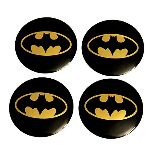 INCART Car Wheel Hub Centre Cover Stickers Original Car Tire Pack Mark Sticker Paster Fashion Style Cool Batman Black Φ5.6cm 4Pcs/set