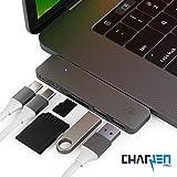 USB C Hub CERTIFIED CHARJENPRO Premium MacStick USB C Adapter | Apple Macbook Pro 2018, 2017, 2016, Thunderbolt 3 (TB3) 40GB/S data, 5K@60Hz, Type C, 2 USB 3.0, SD and Micro SD Card Reader, Space Gray