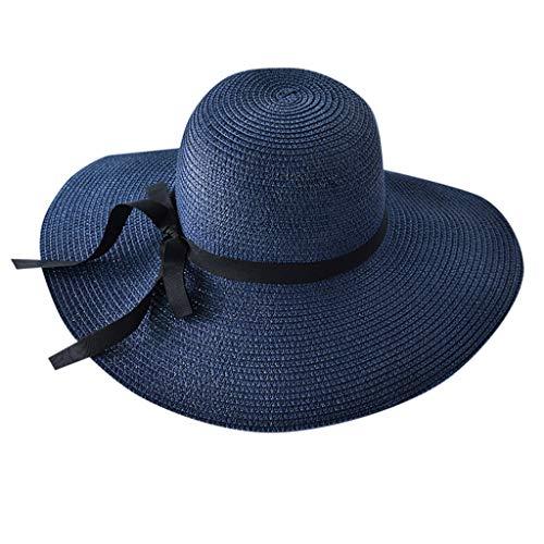 (Womens Straw Hat Wide Brim Floppy Beach Cap Adjustable Sun Hat for Women UPF 50+)