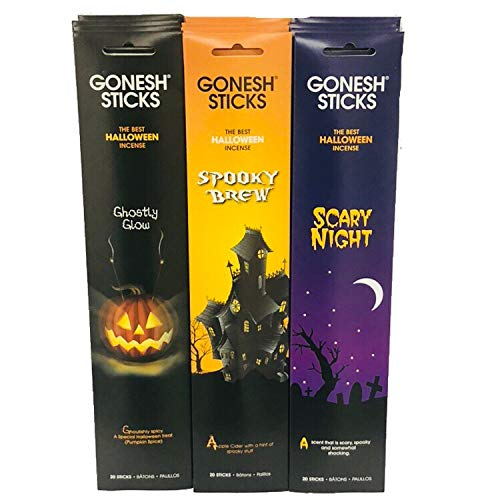 Gonesh Spooky Halloween Incense set 12 Pack (Ghostly Glow, Spooky Brew, Scary Night 240 sticks total)