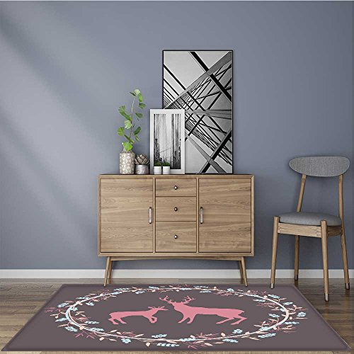 - Water-Repellent Rugs Deers silhouette in floral wreath Anti Bacterial,Latex 5' X 8'