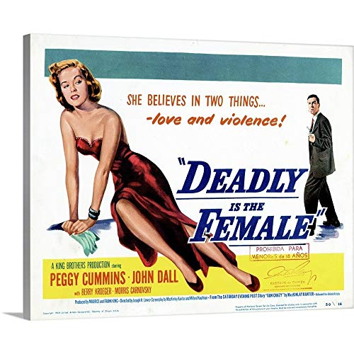 - GREATBIGCANVAS Gallery-Wrapped Canvas Entitled Gun Crazy, Title Card, Peggy Cummins, John Dall, 1949 by 14