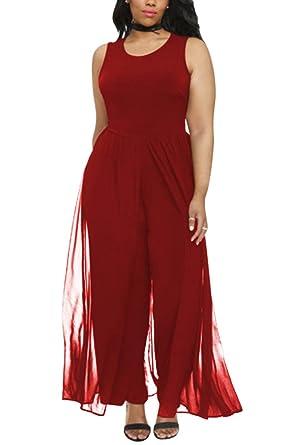 1eb2f3c6b53 CHICE IRIS Ladies Plus Size Round Neck Sleeveless Long Jumpsuits Red 3XL