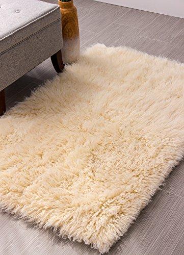 Hand-Woven Soft Wool Flokati Shag Rug 8 Feet by 10 Feet (8' X 10' ) , Natural Hand Woven Wool Shag Rug
