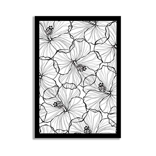(rfy9u7 Wood Pallet Design Wall Art Sign Plaque with Frame Hawaiian Hibiscus Plants Flowers Black White Wood Framed Sign Wooden)