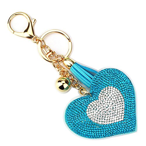 Love Heart Rhinestone Tassel Keychain, Purse Bag Handbag Charm Car Key Accessories, for Women Girls (Blue (Weiss Blue Rhinestone)