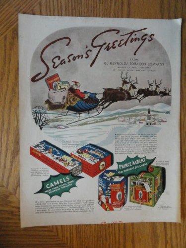 Prince Albert Tobacco (Prince Albert Tobacco, Authentic 1934 Color Illustration,print ad (Santa and Raindeers)Original Vintage 1934 Collier's Magazine Print Ad.)